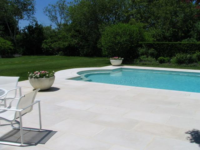 white patio  around pool