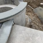 custom spa radius with spill way stone