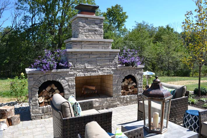 outdoor living fire place custom