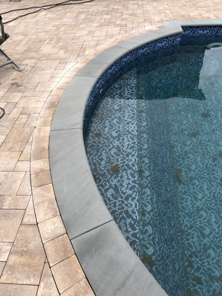 radius pool coping with full nose bluestone sahara chestnut light